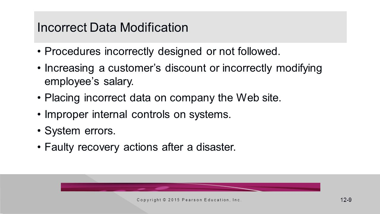 12-9 Incorrect Data Modification Procedures incorrectly designed or not followed.