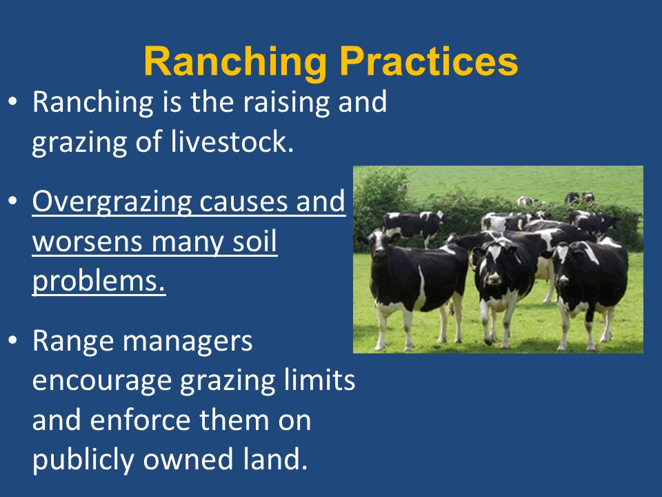 Ranching Practices Ranching is the raising and grazing of livestock. Overgrazing causes and worsens many soil problems. Range managers encourage grazi