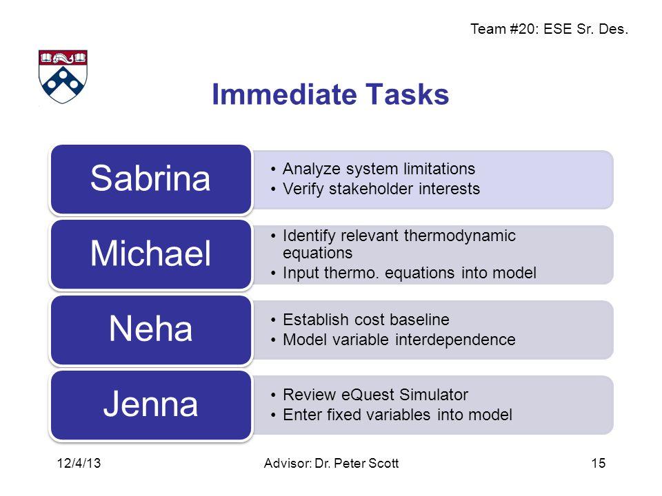 Team #20: ESE Sr. Des. Immediate Tasks Analyze system limitations Verify stakeholder interests Sabrina Identify relevant thermodynamic equations Input