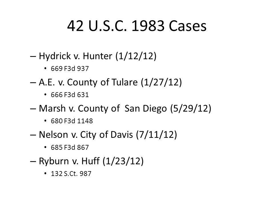 42 U.S.C. 1983 Cases – Hydrick v. Hunter (1/12/12) 669 F3d 937 – A.E.