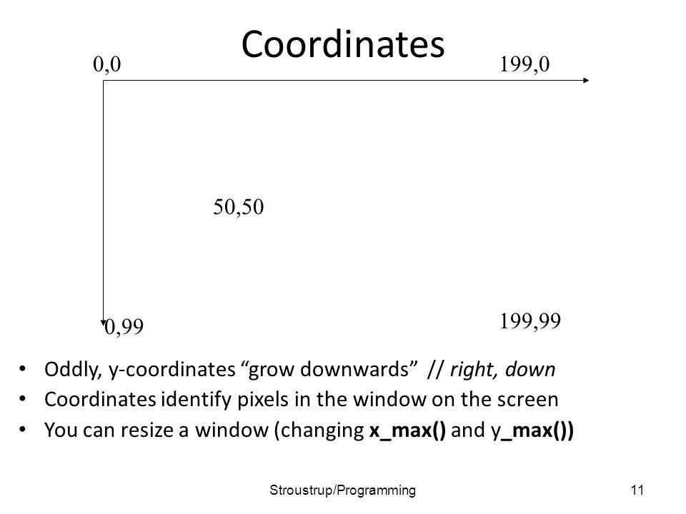 """Coordinates Oddly, y-coordinates """"grow downwards"""" // right, down Coordinates identify pixels in the window on the screen You can resize a window (chan"""