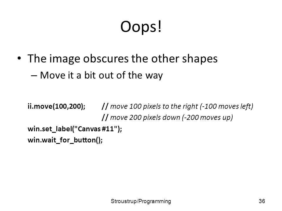 Oops! The image obscures the other shapes – Move it a bit out of the way ii.move(100,200);// move 100 pixels to the right (-100 moves left) // move 20