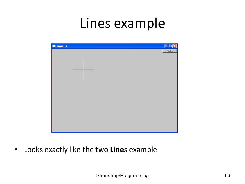 Lines example Looks exactly like the two Lines example 53Stroustrup/Programming