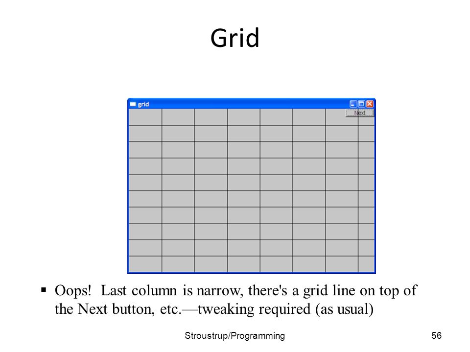 Grid 56Stroustrup/Programming  Oops! Last column is narrow, there's a grid line on top of the Next button, etc.—tweaking required (as usual)
