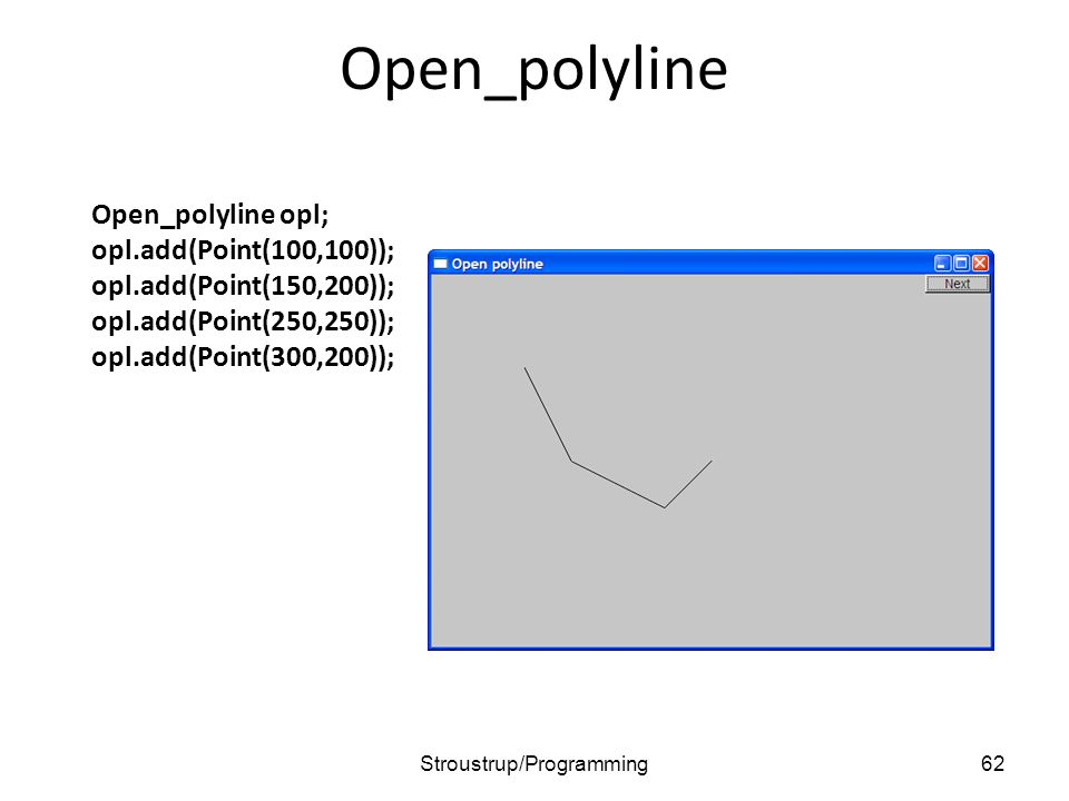 Open_polyline Open_polyline opl; opl.add(Point(100,100)); opl.add(Point(150,200)); opl.add(Point(250,250)); opl.add(Point(300,200)); 62Stroustrup/Programming