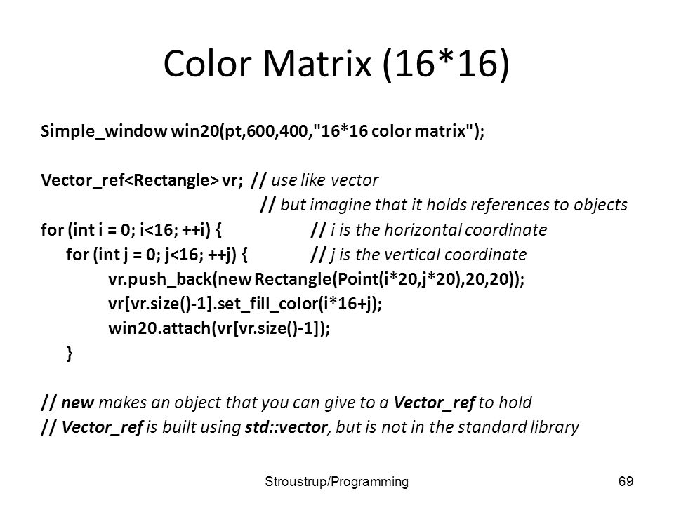 Color Matrix (16*16) Simple_window win20(pt,600,400, 16*16 color matrix ); Vector_ref vr; // use like vector // but imagine that it holds references to objects for (int i = 0; i<16; ++i) {// i is the horizontal coordinate for (int j = 0; j<16; ++j) {// j is the vertical coordinate vr.push_back(new Rectangle(Point(i*20,j*20),20,20)); vr[vr.size()-1].set_fill_color(i*16+j); win20.attach(vr[vr.size()-1]); } // new makes an object that you can give to a Vector_ref to hold // Vector_ref is built using std::vector, but is not in the standard library 69Stroustrup/Programming