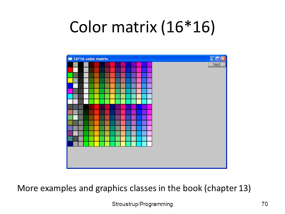 Color matrix (16*16) More examples and graphics classes in the book (chapter 13) 70Stroustrup/Programming