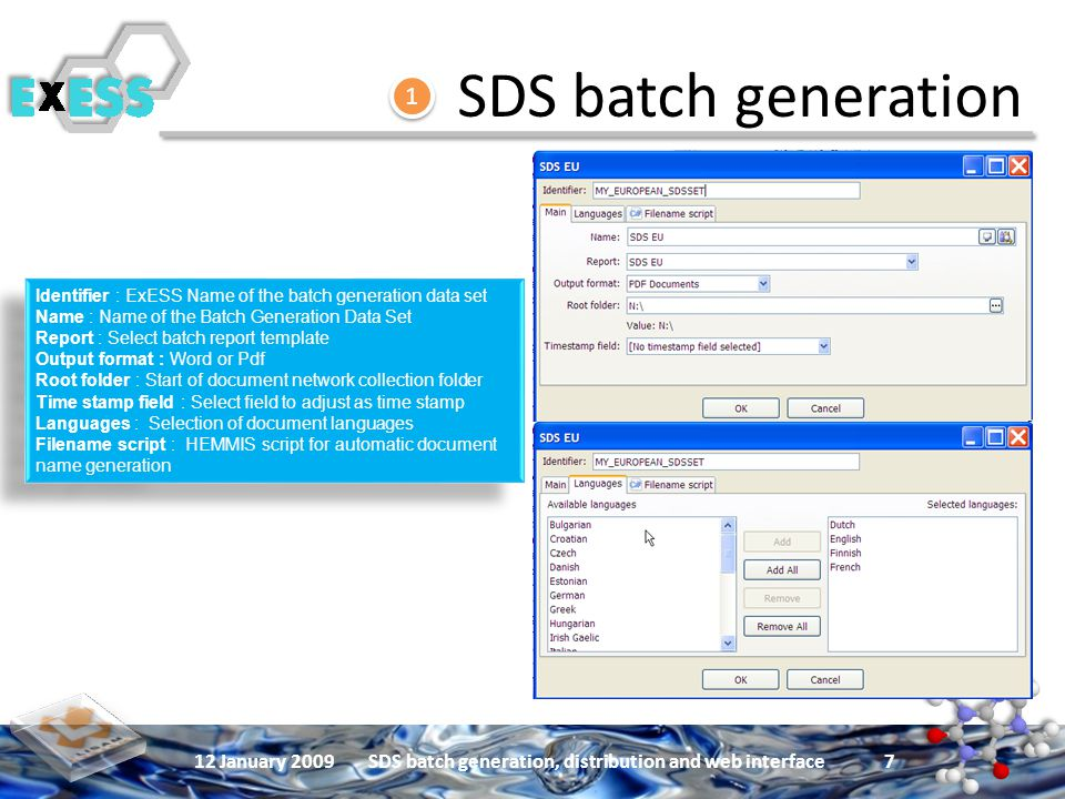 12 January 2009SDS batch generation, distribution and web interface 7 Identifier : ExESS Name of the batch generation data set Name : Name of the Batch Generation Data Set Report : Select batch report template Output format : Word or Pdf Root folder : Start of document network collection folder Time stamp field : Select field to adjust as time stamp Languages : Selection of document languages Filename script : HEMMIS script for automatic document name generation Identifier : ExESS Name of the batch generation data set Name : Name of the Batch Generation Data Set Report : Select batch report template Output format : Word or Pdf Root folder : Start of document network collection folder Time stamp field : Select field to adjust as time stamp Languages : Selection of document languages Filename script : HEMMIS script for automatic document name generation SDS batch generation 1 1
