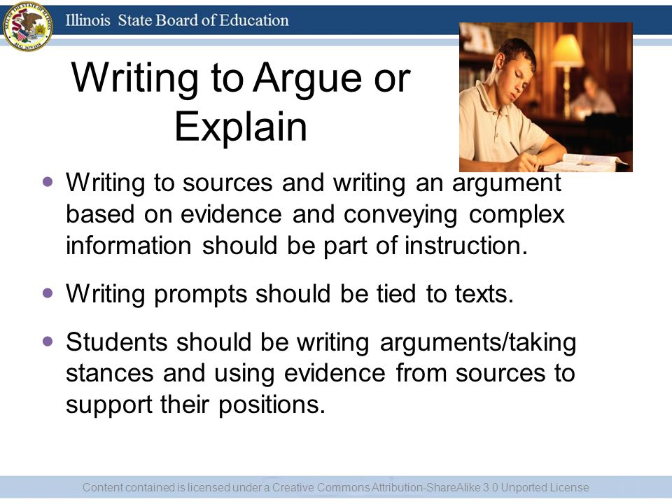 Writing to Argue or Explain Writing to sources and writing an argument based on evidence and conveying complex information should be part of instruction.