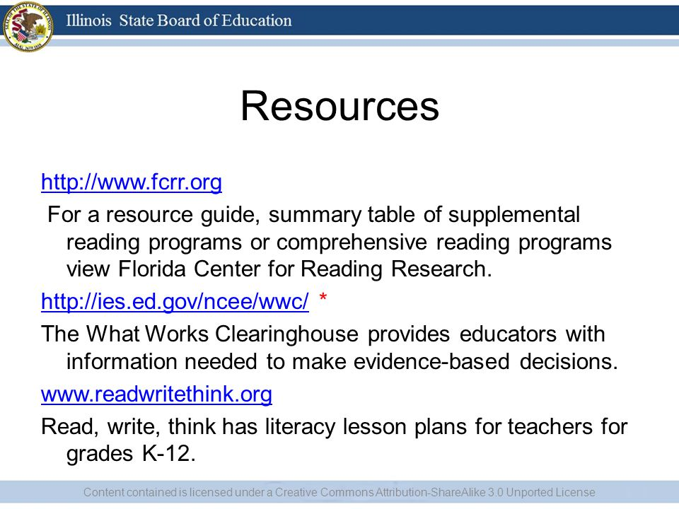 Resources http://www.fcrr.org For a resource guide, summary table of supplemental reading programs or comprehensive reading programs view Florida Center for Reading Research.