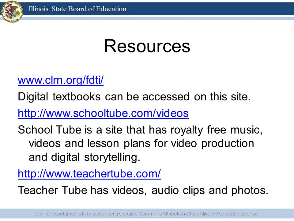 Resources www.clrn.org/fdti/ Digital textbooks can be accessed on this site.