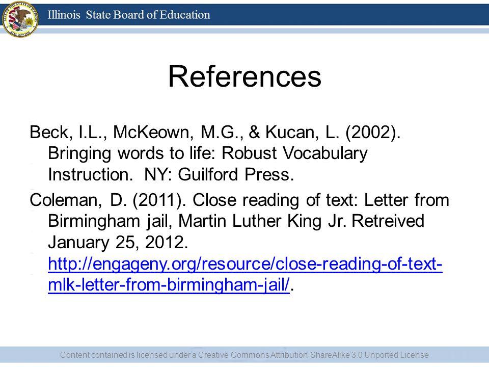References Beck, I.L., McKeown, M.G., & Kucan, L. (2002).