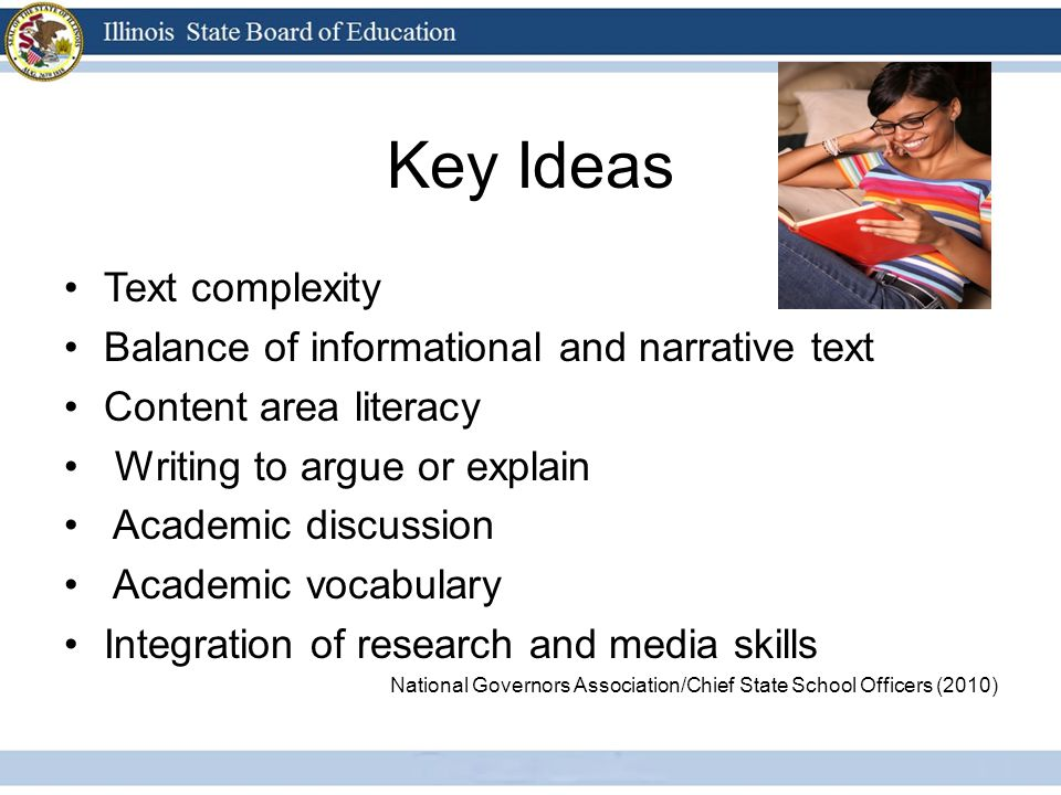 Key Ideas Text complexity Balance of informational and narrative text Content area literacy Writing to argue or explain Academic discussion Academic vocabulary Integration of research and media skills National Governors Association/Chief State School Officers (2010)