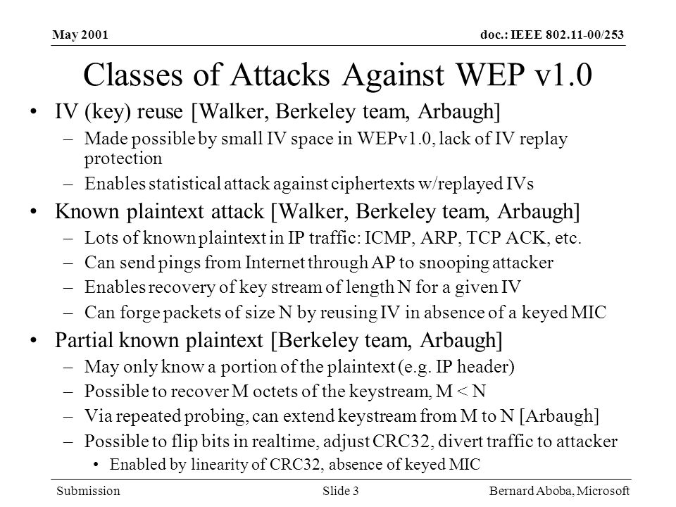 doc.: IEEE 802.11-00/253 Submission May 2001 Bernard Aboba, MicrosoftSlide 3 Classes of Attacks Against WEP v1.0 IV (key) reuse [Walker, Berkeley team, Arbaugh] –Made possible by small IV space in WEPv1.0, lack of IV replay protection –Enables statistical attack against ciphertexts w/replayed IVs Known plaintext attack [Walker, Berkeley team, Arbaugh] –Lots of known plaintext in IP traffic: ICMP, ARP, TCP ACK, etc.