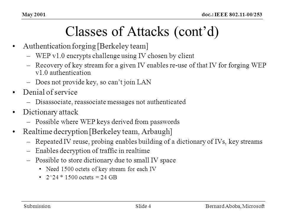 doc.: IEEE 802.11-00/253 Submission May 2001 Bernard Aboba, MicrosoftSlide 4 Classes of Attacks (cont'd) Authentication forging [Berkeley team] –WEP v1.0 encrypts challenge using IV chosen by client –Recovery of key stream for a given IV enables re-use of that IV for forging WEP v1.0 authentication –Does not provide key, so can't join LAN Denial of service –Disassociate, reassociate messages not authenticated Dictionary attack –Possible where WEP keys derived from passwords Realtime decryption [Berkeley team, Arbaugh] –Repeated IV reuse, probing enables building of a dictionary of IVs, key streams –Enables decryption of traffic in realtime –Possible to store dictionary due to small IV space Need 1500 octets of key stream for each IV 2^24 * 1500 octets = 24 GB