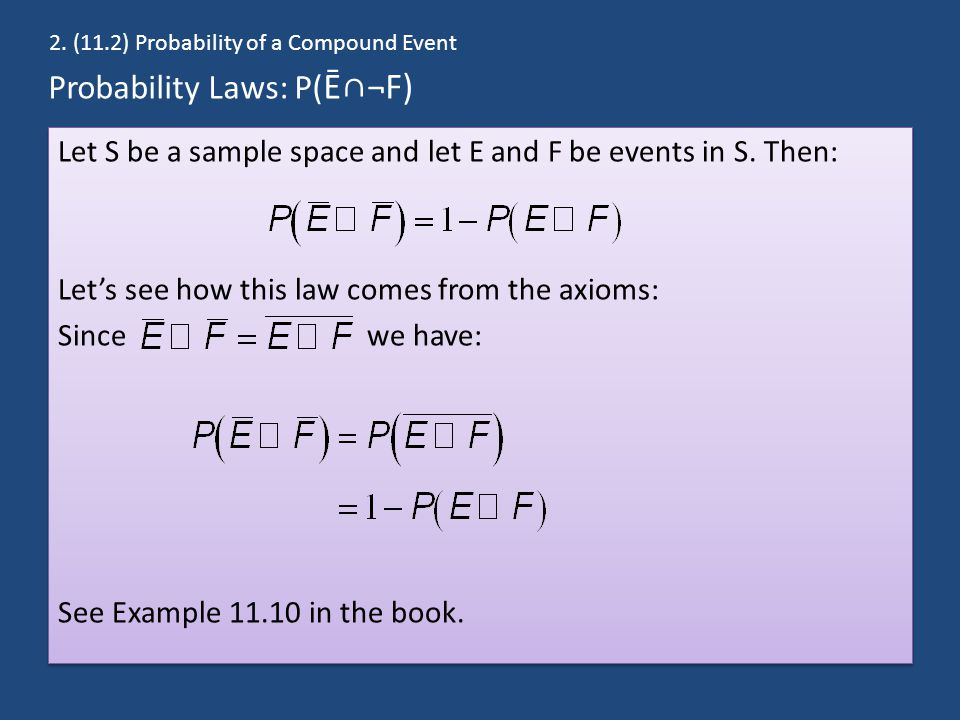 Probability Laws: P( Ē∩¬F) Let S be a sample space and let E and F be events in S.