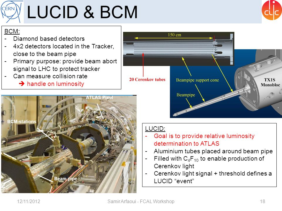 12/11/2012Samir Arfaoui - FCAL Workshop18 LUCID & BCM BCM: -Diamond based detectors -4x2 detectors located in the Tracker, close to the beam pipe -Pri