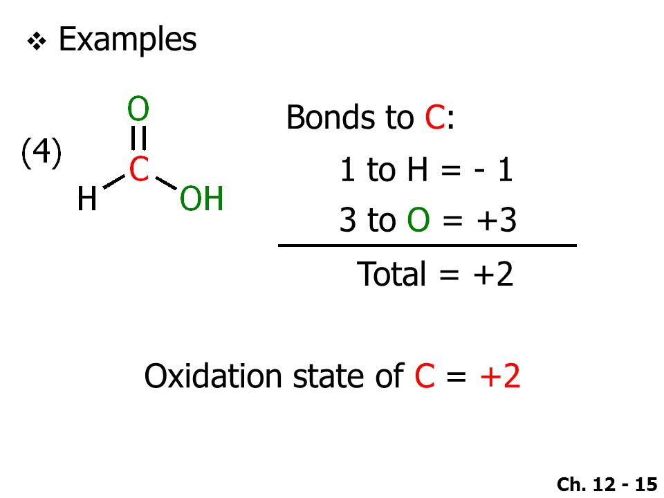 Ch. 12 - 15  Examples Bonds to C: 1 to H = - 1 Total = +2 Oxidation state of C = +2 3 to O = +3