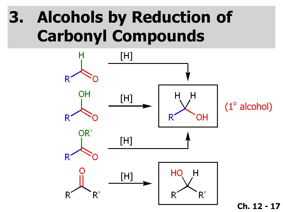 Ch. 12 - 17 3.Alcohols by Reduction of Carbonyl Compounds (1 o alcohol)