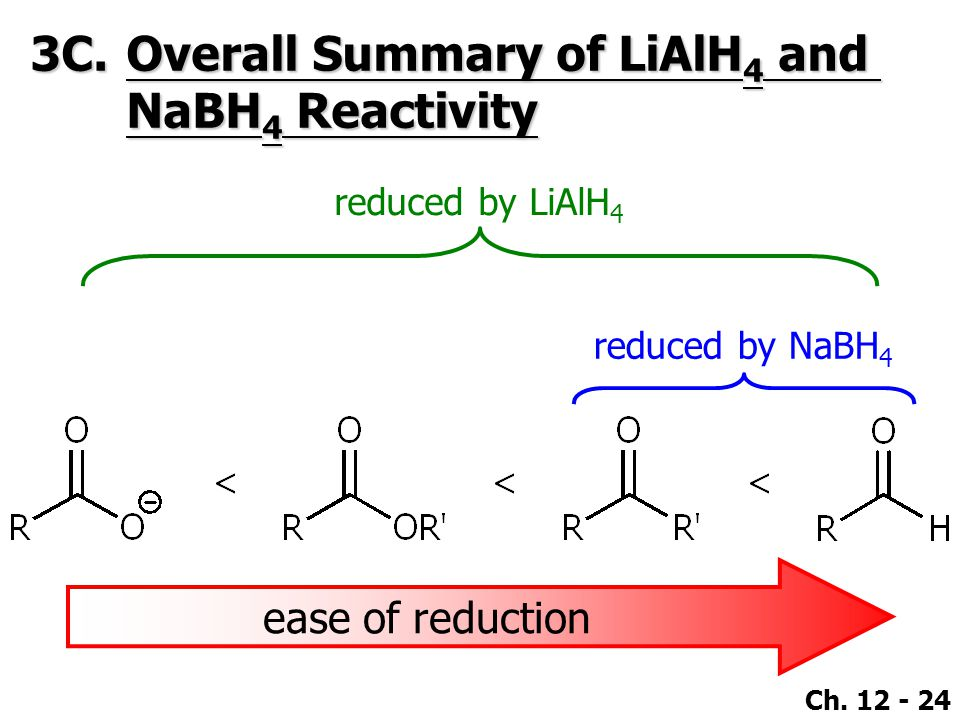 Ch. 12 - 24 3C.Overall Summary of LiAlH 4 and NaBH 4 Reactivity ease of reduction reduced by NaBH 4 reduced by LiAlH 4