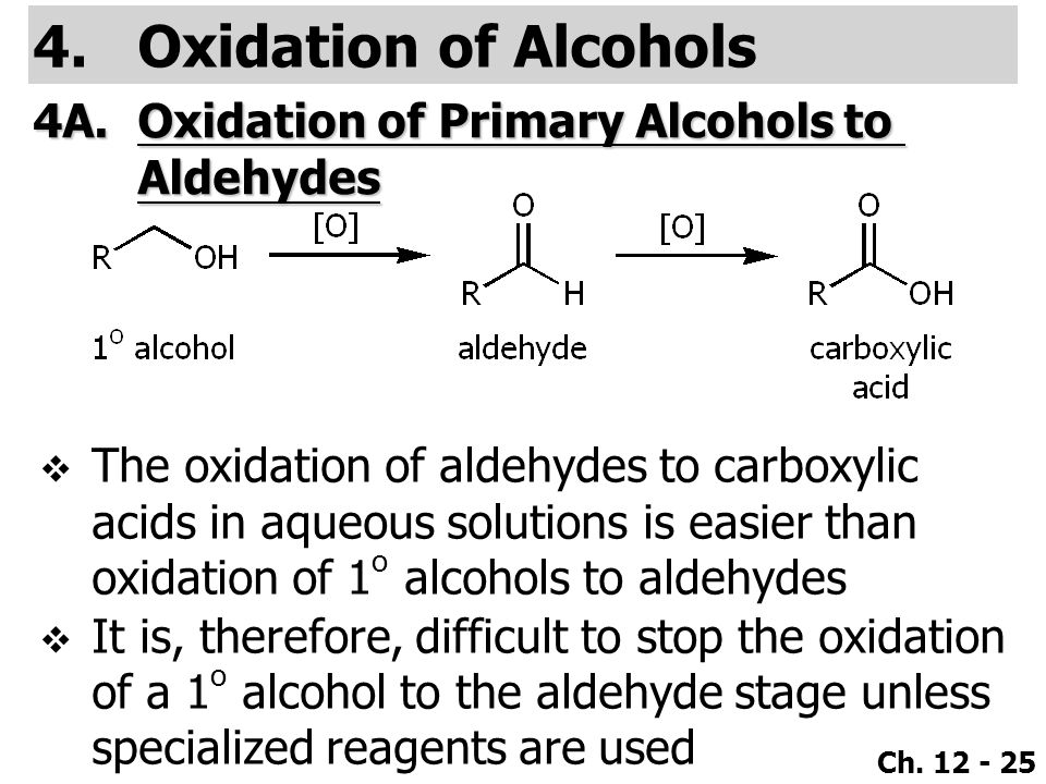 Ch. 12 - 25 4.Oxidation of Alcohols 4A.Oxidation of Primary Alcohols to Aldehydes  The oxidation of aldehydes to carboxylic acids in aqueous solution