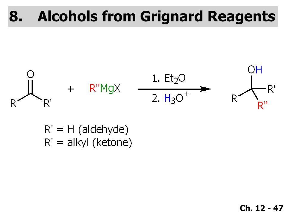 Ch. 12 - 47 8.Alcohols from Grignard Reagents