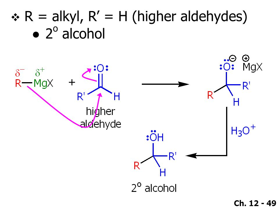 Ch. 12 - 49  R = alkyl, R' = H (higher aldehydes) ●2 o alcohol