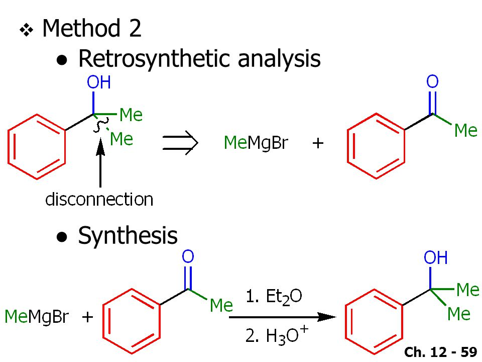 Ch. 12 - 59  Method 2 ●Retrosynthetic analysis ●Synthesis