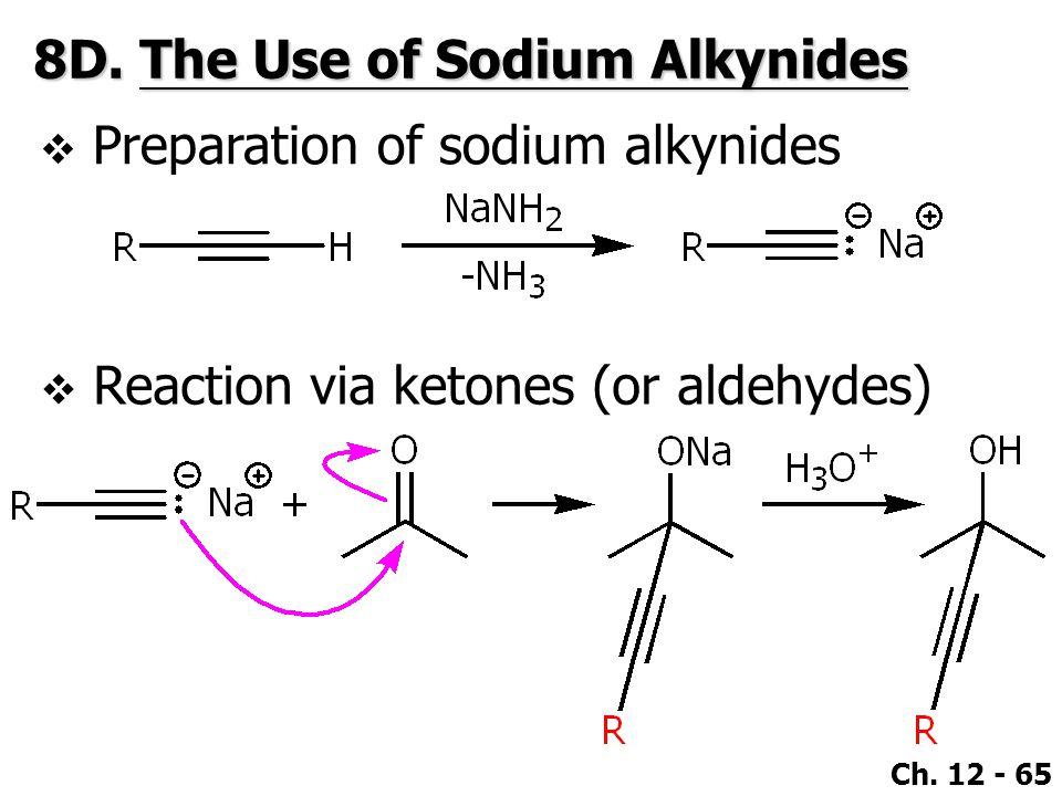 Ch. 12 - 65 8D.The Use of Sodium Alkynides  Preparation of sodium alkynides  Reaction via ketones (or aldehydes)