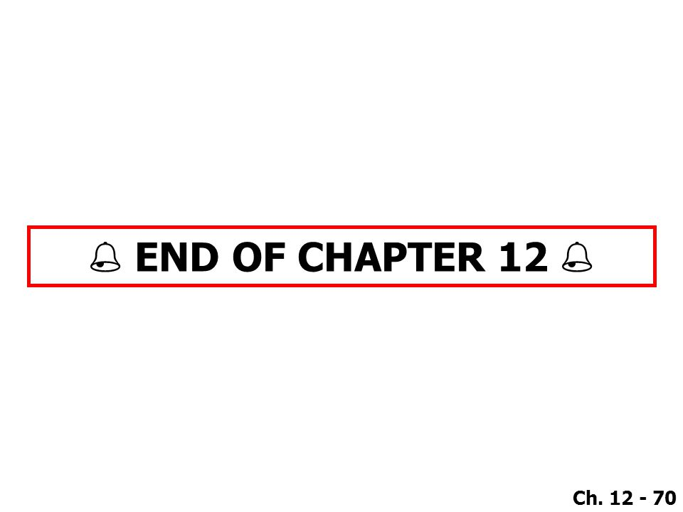 Ch. 12 - 70  END OF CHAPTER 12 