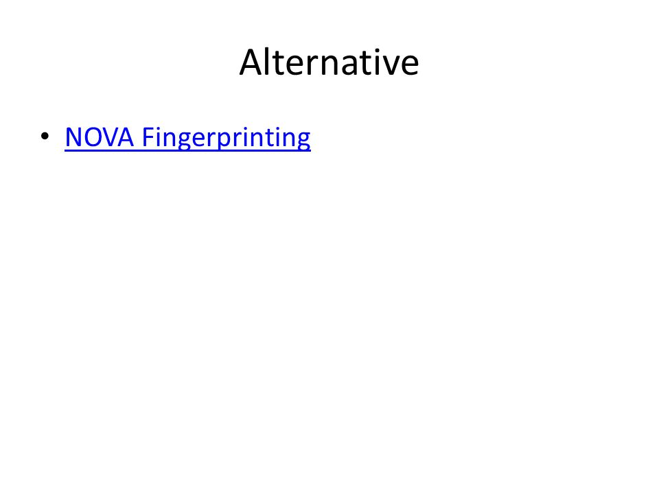Alternative NOVA Fingerprinting