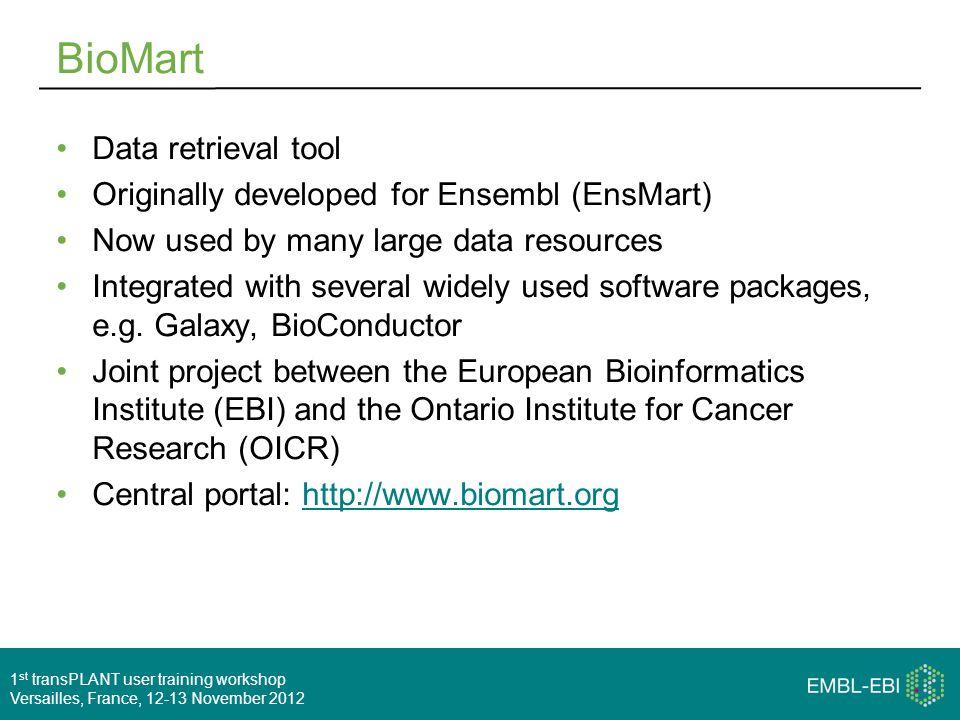 1 st transPLANT user training workshop Versailles, France, 12-13 November 2012 BioMart Data retrieval tool Originally developed for Ensembl (EnsMart)