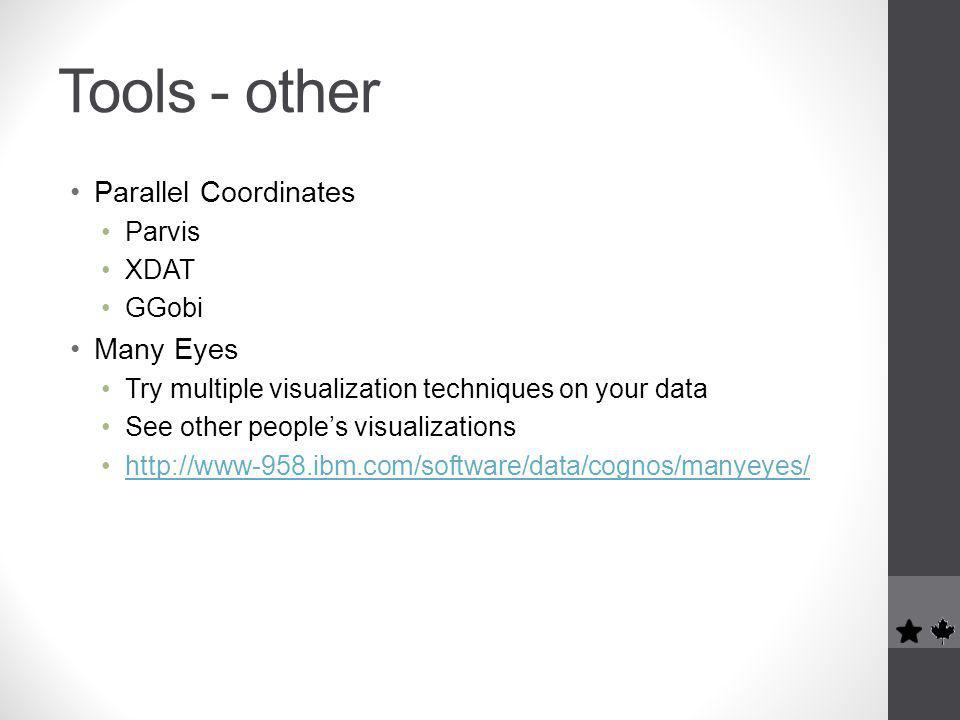 Tools - other Parallel Coordinates Parvis XDAT GGobi Many Eyes Try multiple visualization techniques on your data See other people's visualizations http://www-958.ibm.com/software/data/cognos/manyeyes/