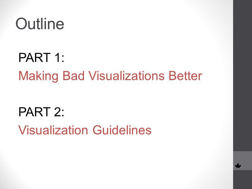 Outline PART 1: Making Bad Visualizations Better PART 2: Visualization Guidelines