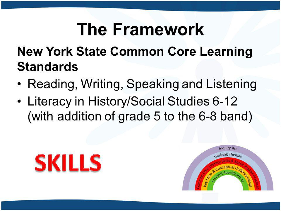 The Framework New York State Common Core Learning Standards Reading, Writing, Speaking and Listening Literacy in History/Social Studies 6-12 (with add