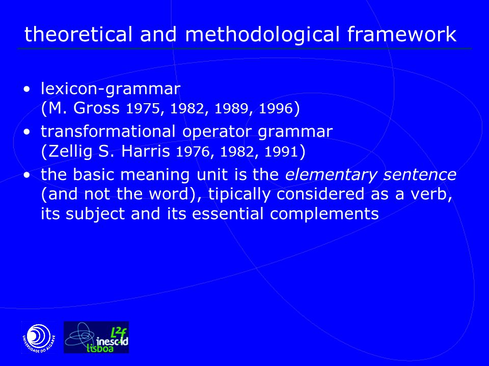 general definition of frozen sentences frozen sentence is an elementary sentence, in the sense it conveys a semantic predicate, but different from free, distributional verbs, since the global meaning can not be calculated from the meaning of their components when they are used separately follow general syntactic rules for sentence building show important combinatorial constraints, namely, on distributional variation on argument positions and on the application of several transformations