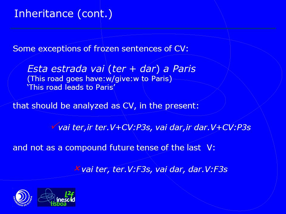 Inheritance (cont.) Some exceptions of frozen sentences of CV: Esta estrada vai (ter + dar) a Paris (This road goes have:w/give:w to Paris) 'This road leads to Paris' that should be analyzed as CV, in the present:  vai ter,ir ter.V+CV:P3s, vai dar,ir dar.V+CV:P3s and not as a compound future tense of the last V:  vai ter, ter.V:F3s, vai dar, dar.V:F3s