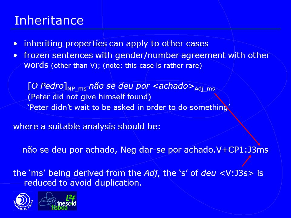 Inheritance inheriting properties can apply to other cases frozen sentences with gender/number agreement with other words (other than V); (note: this case is rather rare) [O Pedro] NP_ms não se deu por Adj_ms (Peter did not give himself found) 'Peter didn't wait to be asked in order to do something' where a suitable analysis should be: não se deu por achado, Neg dar-se por achado.V+CP1:J3ms the 'ms' being derived from the Adj, the 's' of deu is reduced to avoid duplication.
