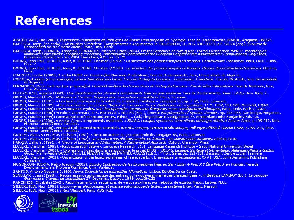 References ARAÚJO-VALE, Oto (2001), Expressões Cristalizadas do Português do Brasil: Uma proposta de Tipologia.
