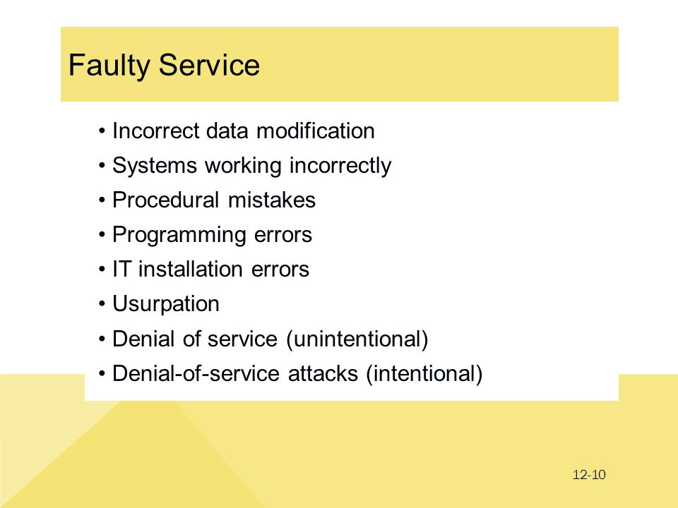 12-10 Faulty Service Incorrect data modification Systems working incorrectly Procedural mistakes Programming errors IT installation errors Usurpation Denial of service (unintentional) Denial-of-service attacks (intentional)