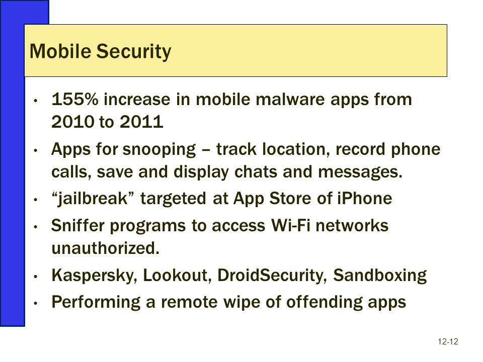 155% increase in mobile malware apps from 2010 to 2011 Apps for snooping – track location, record phone calls, save and display chats and messages.