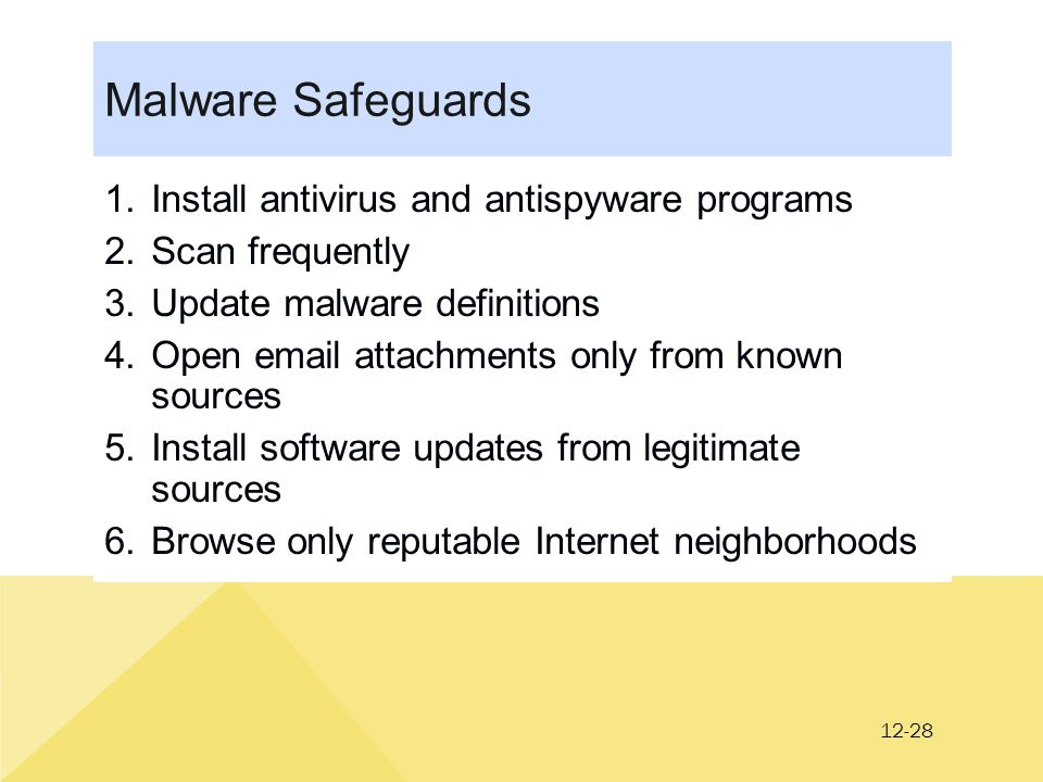 12-28 Malware Safeguards 1.Install antivirus and antispyware programs 2.Scan frequently 3.Update malware definitions 4.Open email attachments only from known sources 5.Install software updates from legitimate sources 6.Browse only reputable Internet neighborhoods