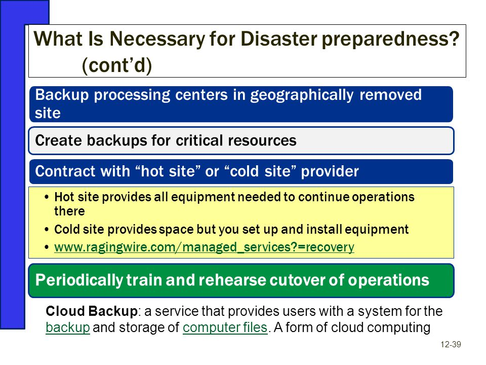 What Is Necessary for Disaster preparedness? (cont'd) 12-39 Backup processing centers in geographically removed site Create backups for critical resou