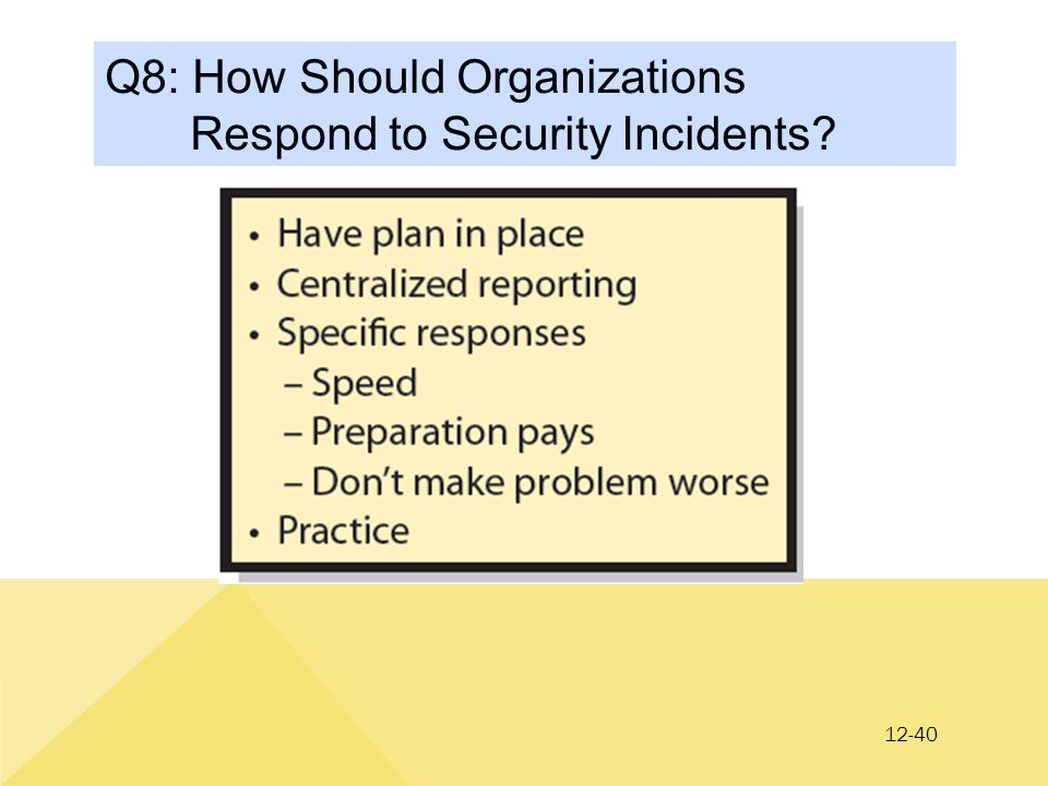 12-40 Q8: How Should Organizations Respond to Security Incidents?