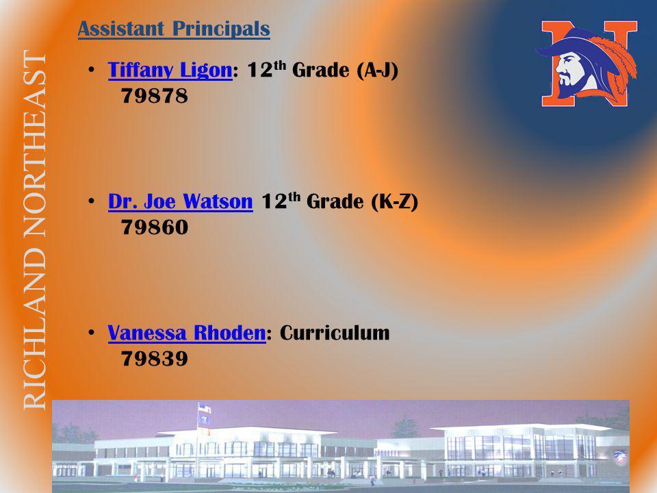 RICHLAND NORTHEAST Tiffany Ligon: 12 th Grade (A-J) Tiffany Ligon 79878 Dr. Joe Watson 12 th Grade (K-Z) Dr. Joe Watson 79860 Vanessa Rhoden: Curricul