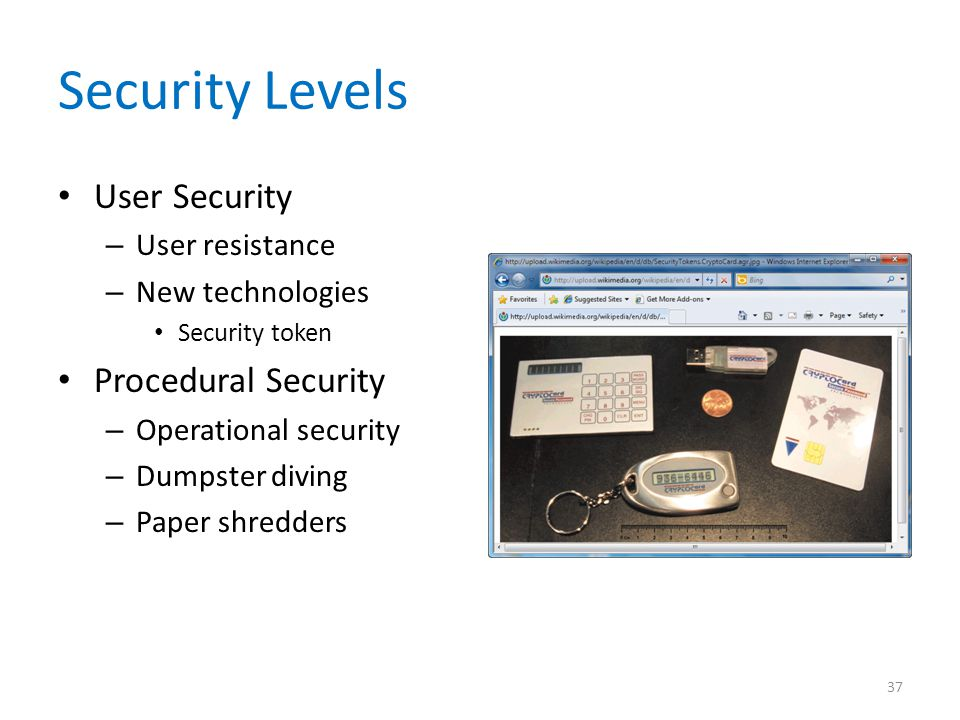 Security Levels User Security – User resistance – New technologies Security token Procedural Security – Operational security – Dumpster diving – Paper