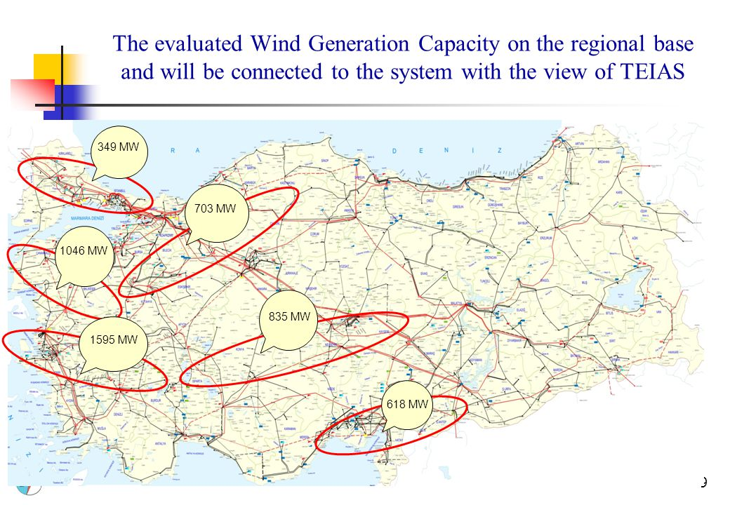 9 The evaluated Wind Generation Capacity on the regional base and will be connected to the system with the view of TEIAS 349 MW 1046 MW 703 MW 1595 MW 835 MW 618 MW