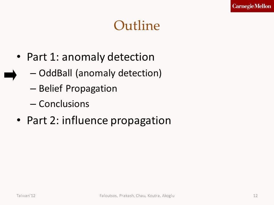 Faloutsos, Prakash, Chau, Koutra, Akoglu12 Outline Part 1: anomaly detection – OddBall (anomaly detection) – Belief Propagation – Conclusions Part 2: influence propagation Taiwan 12