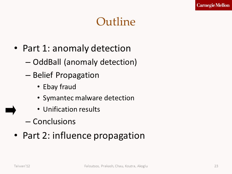 23 Outline Part 1: anomaly detection – OddBall (anomaly detection) – Belief Propagation Ebay fraud Symantec malware detection Unification results – Conclusions Part 2: influence propagation Taiwan 12