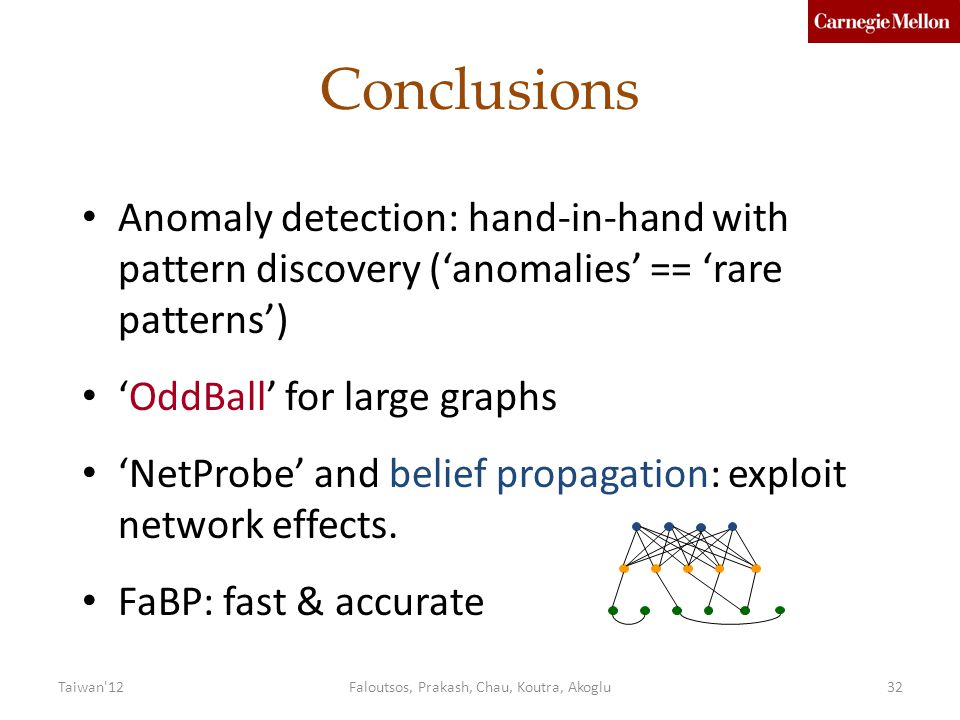 Faloutsos, Prakash, Chau, Koutra, Akoglu32 Conclusions Anomaly detection: hand-in-hand with pattern discovery ('anomalies' == 'rare patterns') 'OddBall' for large graphs 'NetProbe' and belief propagation: exploit network effects.